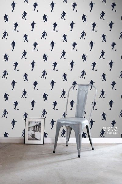 Hd Non Woven Wallpaper Football Players Dark Blue On White Home Decor Decals Wallpaper