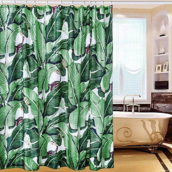 Creative Smart Shower Curtain 100 High Grade Polyester Material Amazing Exotic Rainforest Banana Leaf Pattern Waterproof Heavy Duty Design