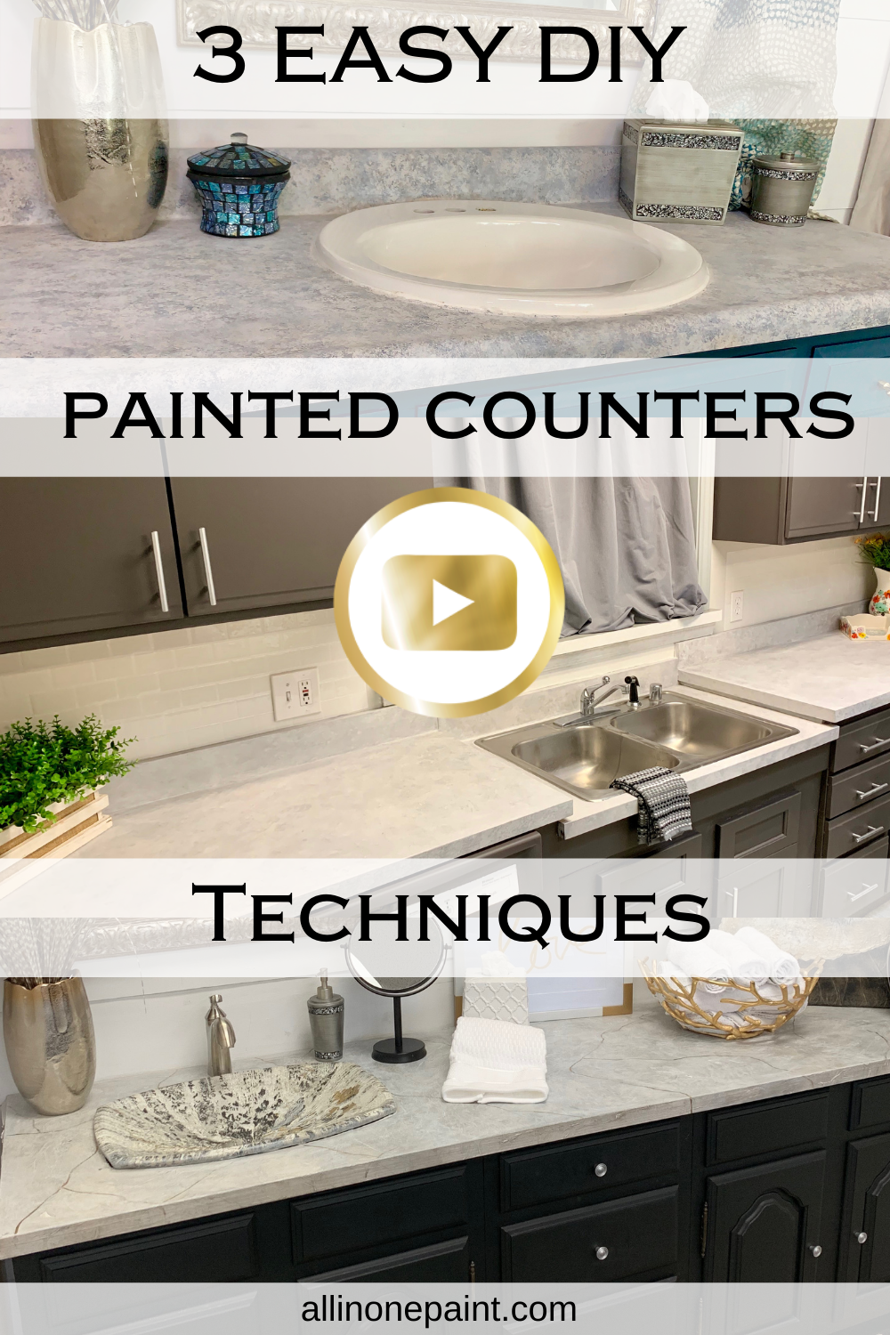 How To Paint Your Countertops Painted Counter Tops Video Tutorial All In One Paint Kitchen Cabinets And Countertops Faux Granite Countertops Kitchen Redo