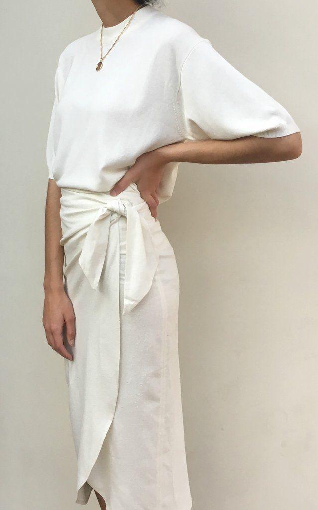 Na Nin Bobbie Raw Silk Wrap Skirt / Available in Cream & Black – Cream / M/L