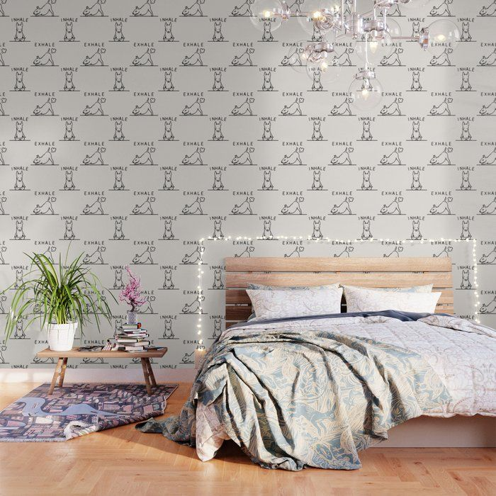 Inhale Exhale Bull Terrier Peel And Stick Wallpaper by Huebucket - 2' X 8'