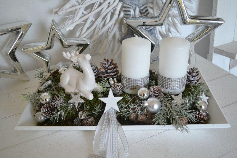 adventskranz adventsgesteck weihnachten 40 x 20 cm wei. Black Bedroom Furniture Sets. Home Design Ideas