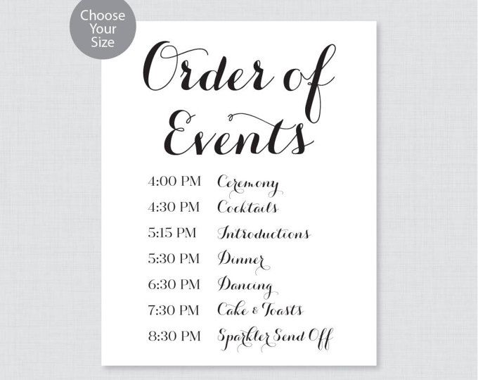Order Of Events Sign Wedding Order Of Service Sign Celtic Design