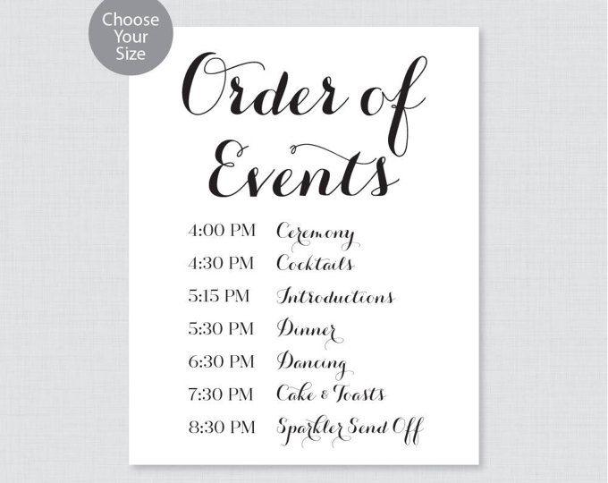 printable order of events sign black and white wedding order of events sign classic wedding. Black Bedroom Furniture Sets. Home Design Ideas