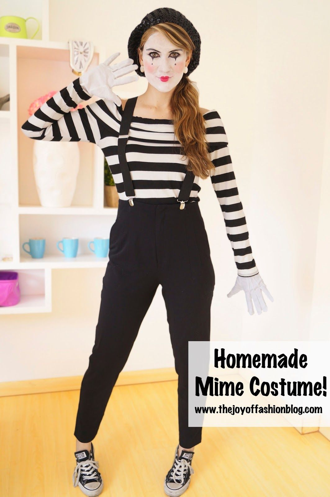 halloween last minute homemade mime costume make up pinterest halloween costume. Black Bedroom Furniture Sets. Home Design Ideas