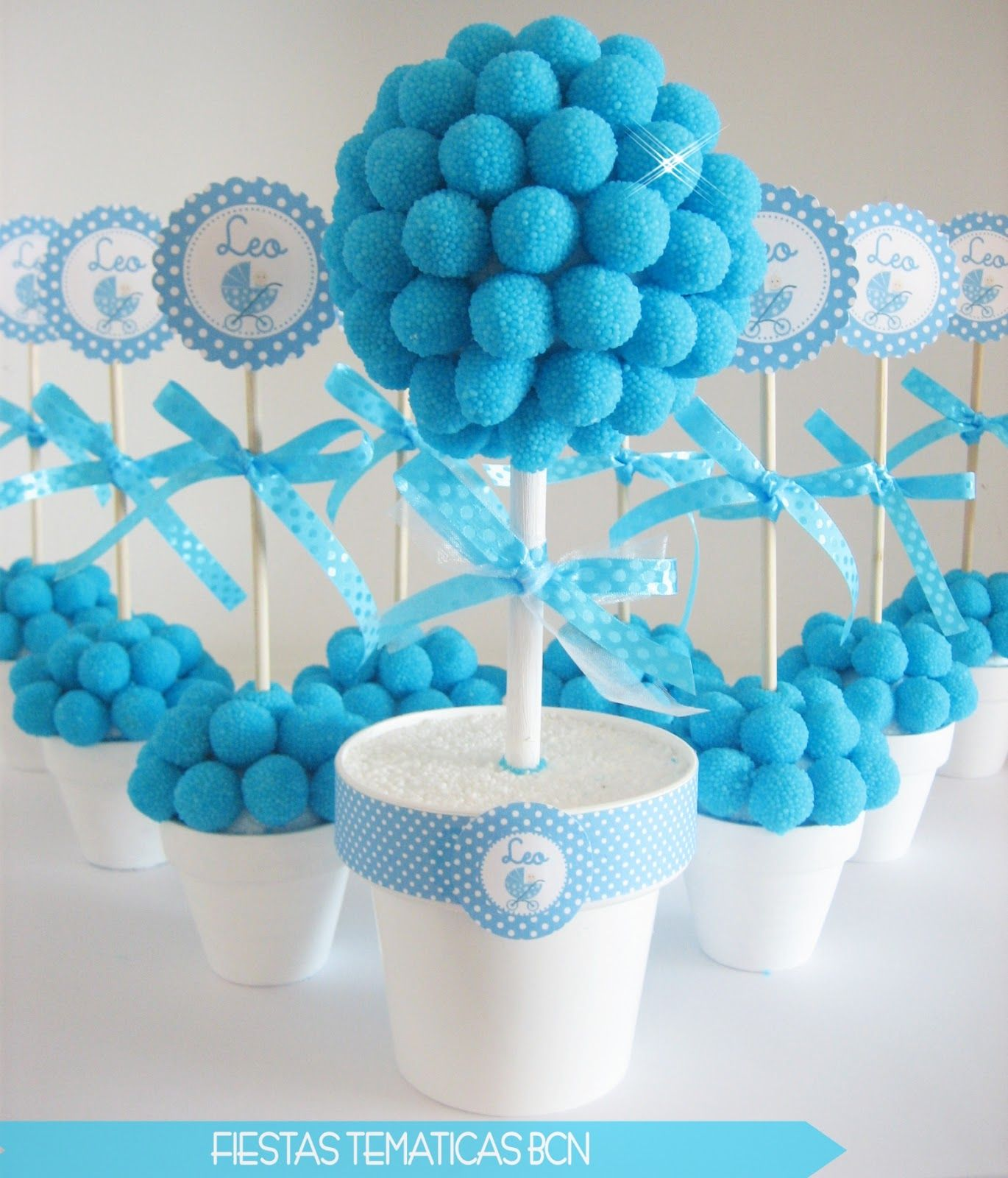 ideas para baby shower macetas dulces TOPIARIOS