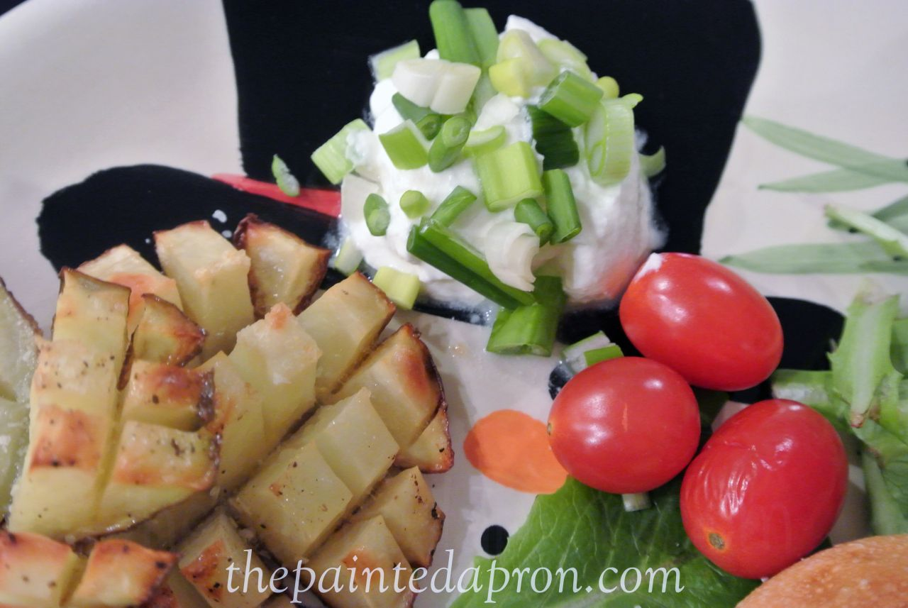 baked waffle fries with sour cream and onion