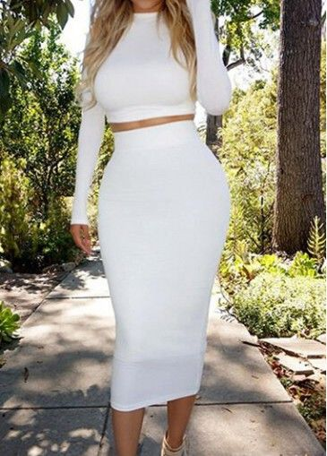 Long Sleeve Crop Top and High Waist Skirt - USD $21.00 Want this ...