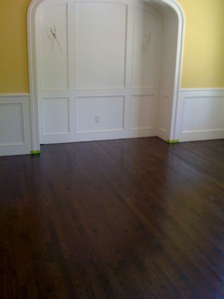 Ebony and red mohagony on white oak floors
