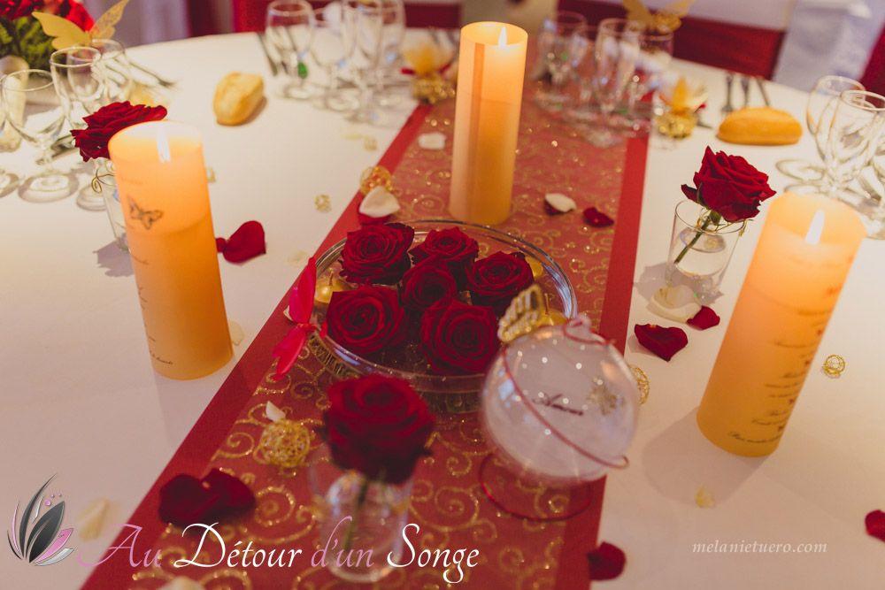 Décoration de salle de mariage Couleurs  blanc, bordeaux