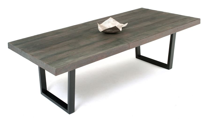 Grey Wood Dining Room Table: Handcrafted From Reclaimed Wood Planks And Solid Wood