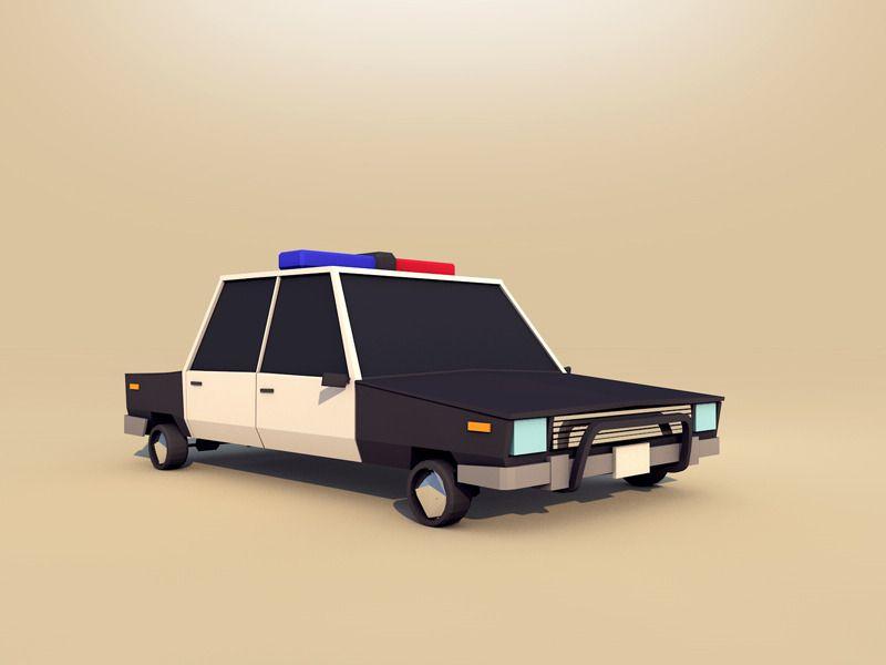 Cartoon Low Poly Police Car Poly Cartoon Car Police