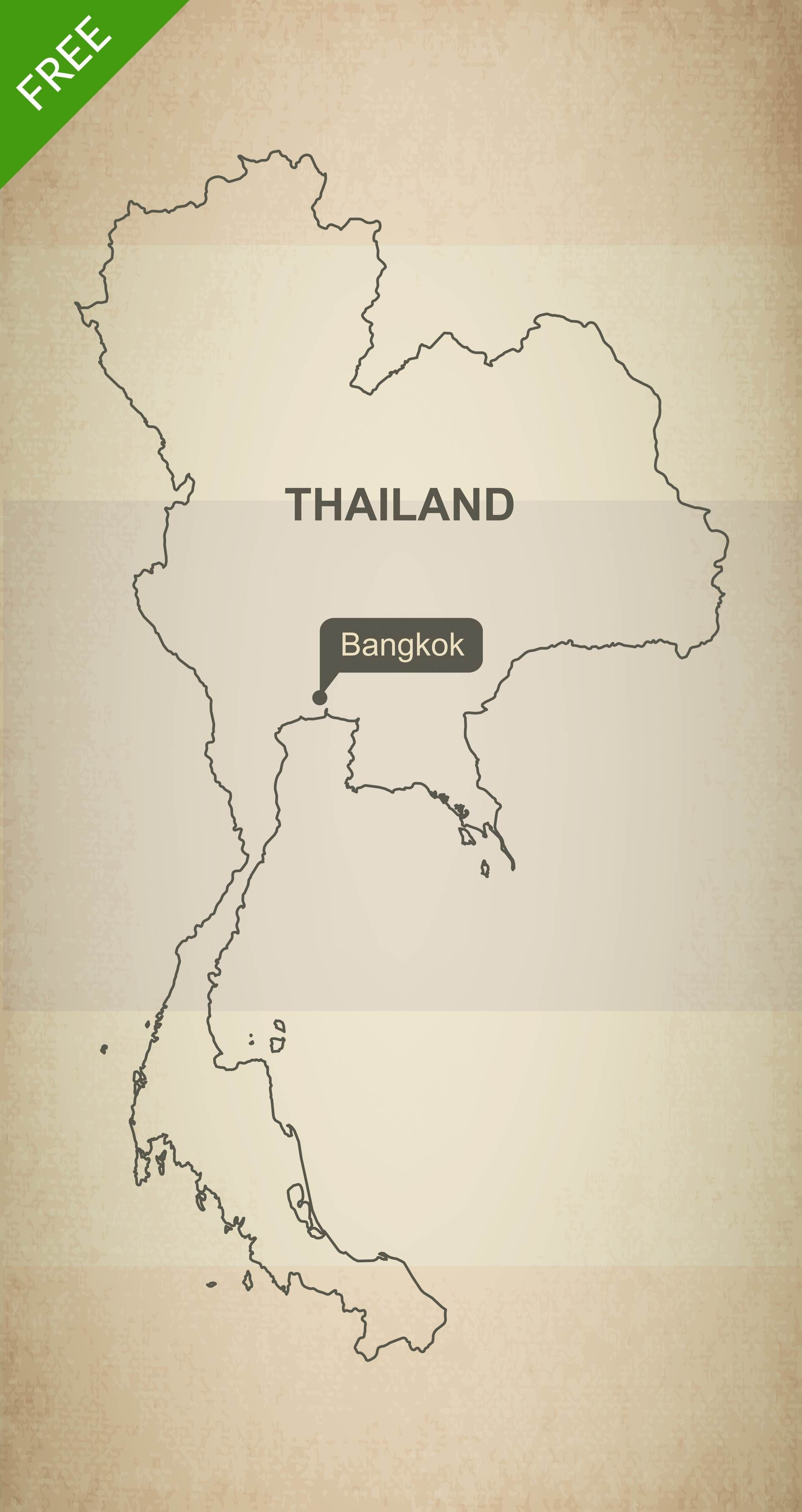 Free download of Thailand outline vector map