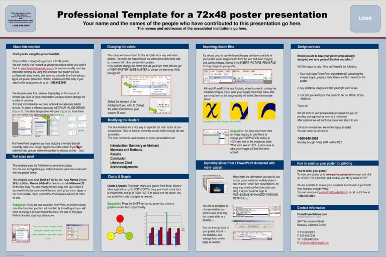 Powerpoint Poster Template A3 Size A4 Ppt A1 Academic Free For Powerpoint Poster Template A0