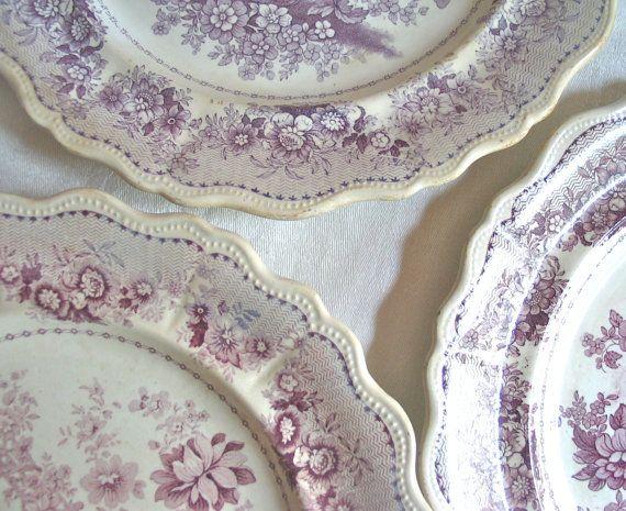 Purple Transferware Plates Tuscan Rose /Clews by marypearlsvintage