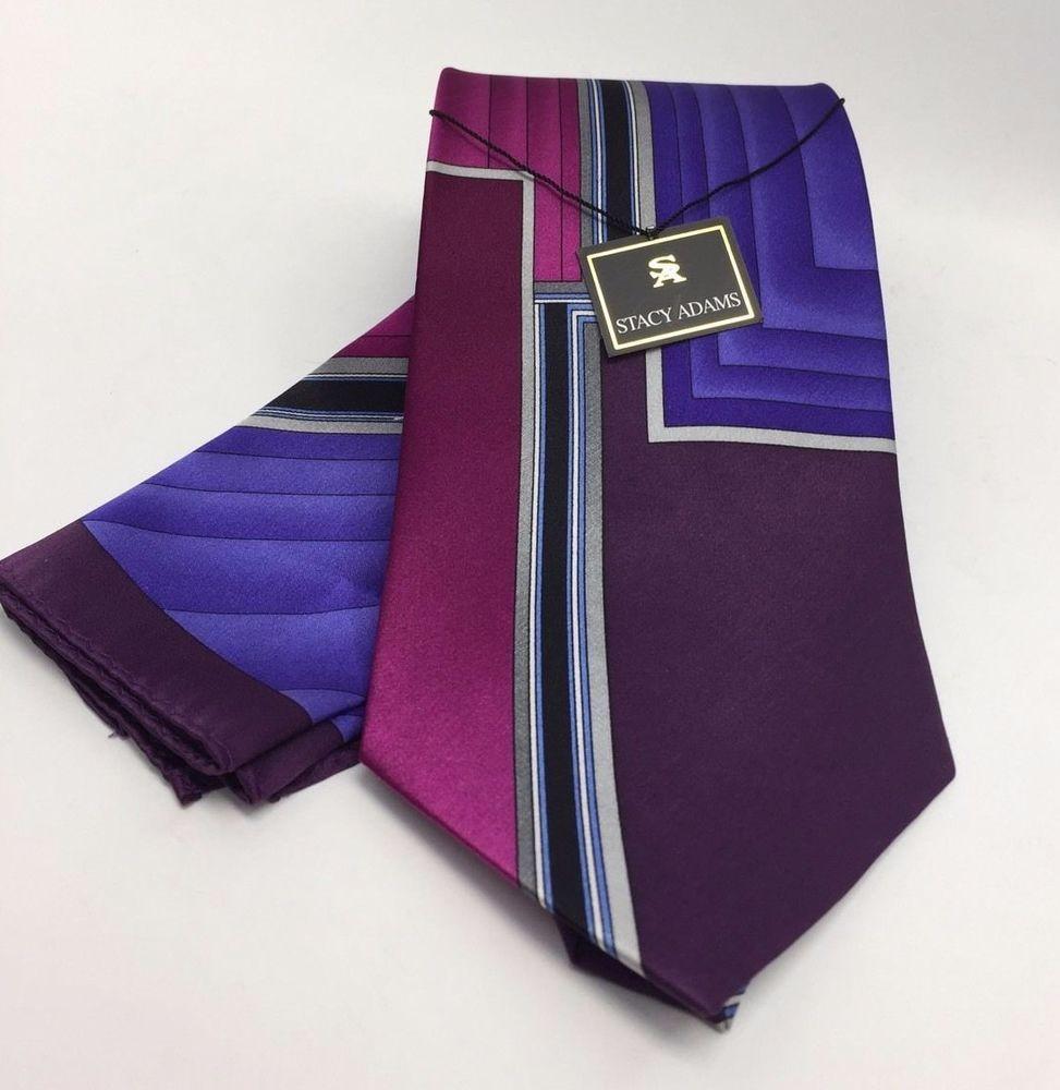 Stacy Adams Tie & Hanky Set Plum Purple Rose Pink Black & Gray Men's Silk #StacyAdams #TieHankySet