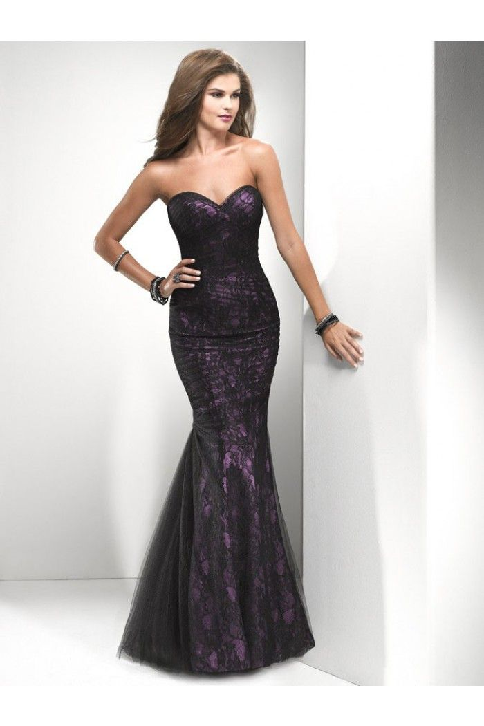 Mermaid Sweetheart Long Purple Satin Black Lace Ruched Evening Prom ...