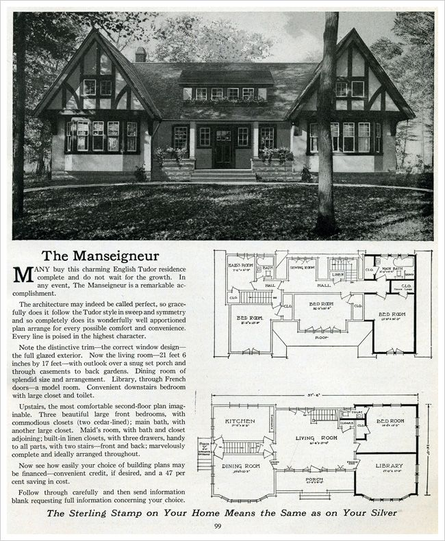 1916 Sterling Homes The Manseigneur Antiquehome Org Love This Old House Plan Especially The Maid S Room House Plans Tudor House Vintage House Plans