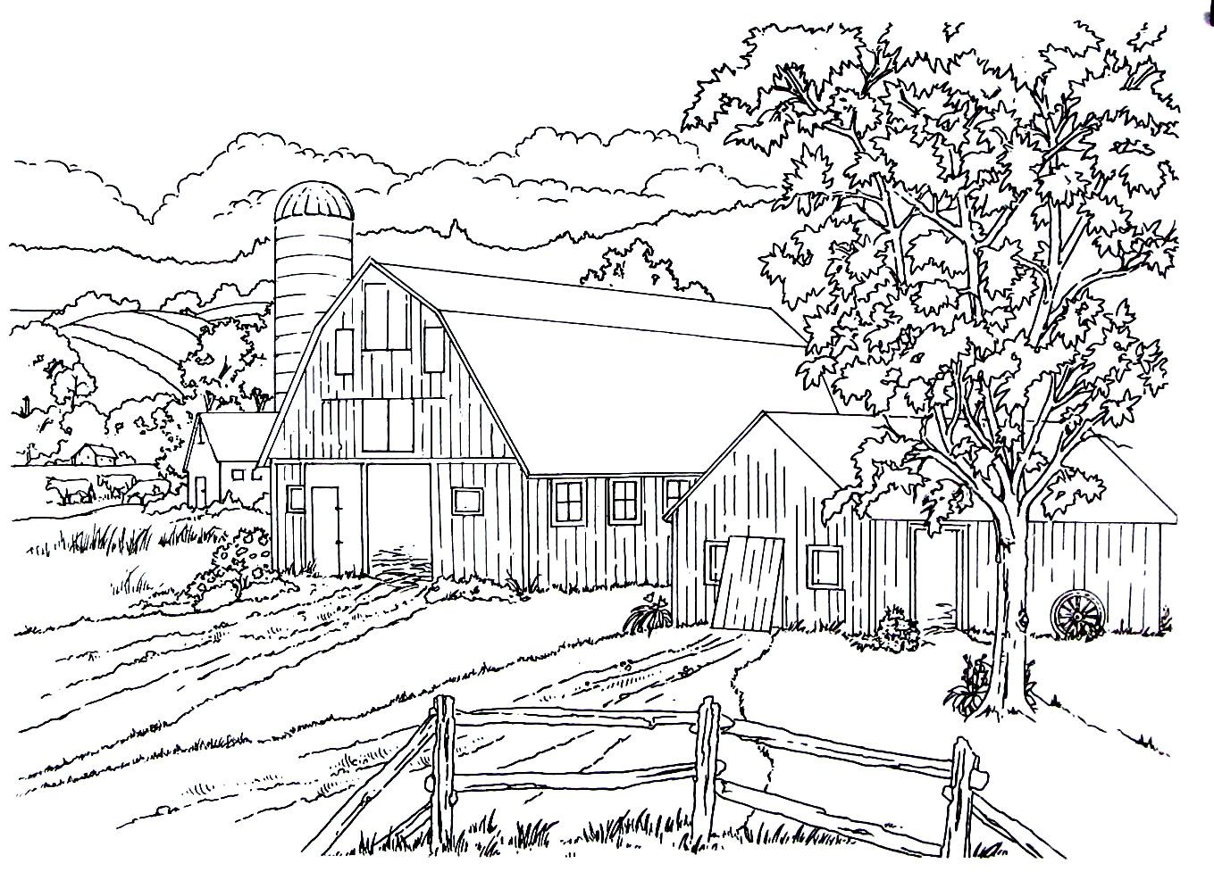 Barn And Silo In The Country Farm Coloring Pages Horse Coloring
