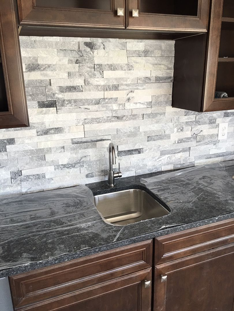 Stacked stone is a great wet bar backsplash home bar entertainment ideas backsplash Stone backsplash tile