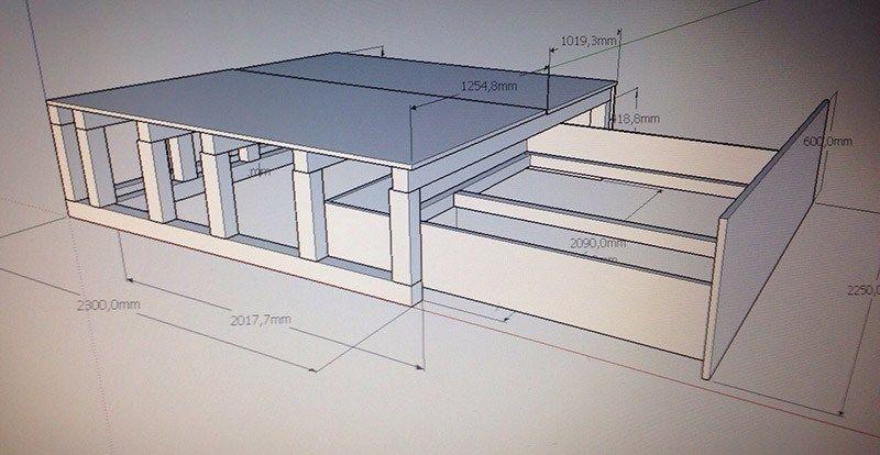 bau dir dein eigenes b ro mit tapete bettschublade. Black Bedroom Furniture Sets. Home Design Ideas