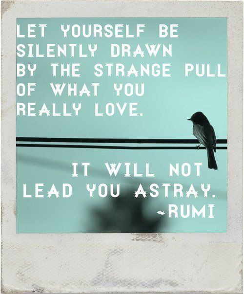 Let yourself be silently drawn by the strange pull of what you really love. It will not lead you astray. - Rumi quote