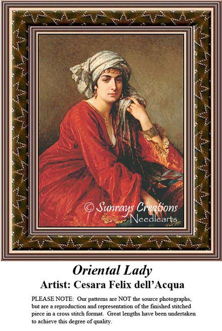 Fine Art Cross Stitch Pattern | Oriental Lady, counted cross stitch, cross stitch kits, cross stitch designs, cross stitch pattern, fine art counted cross stitch, fine art cross stitch #stitching