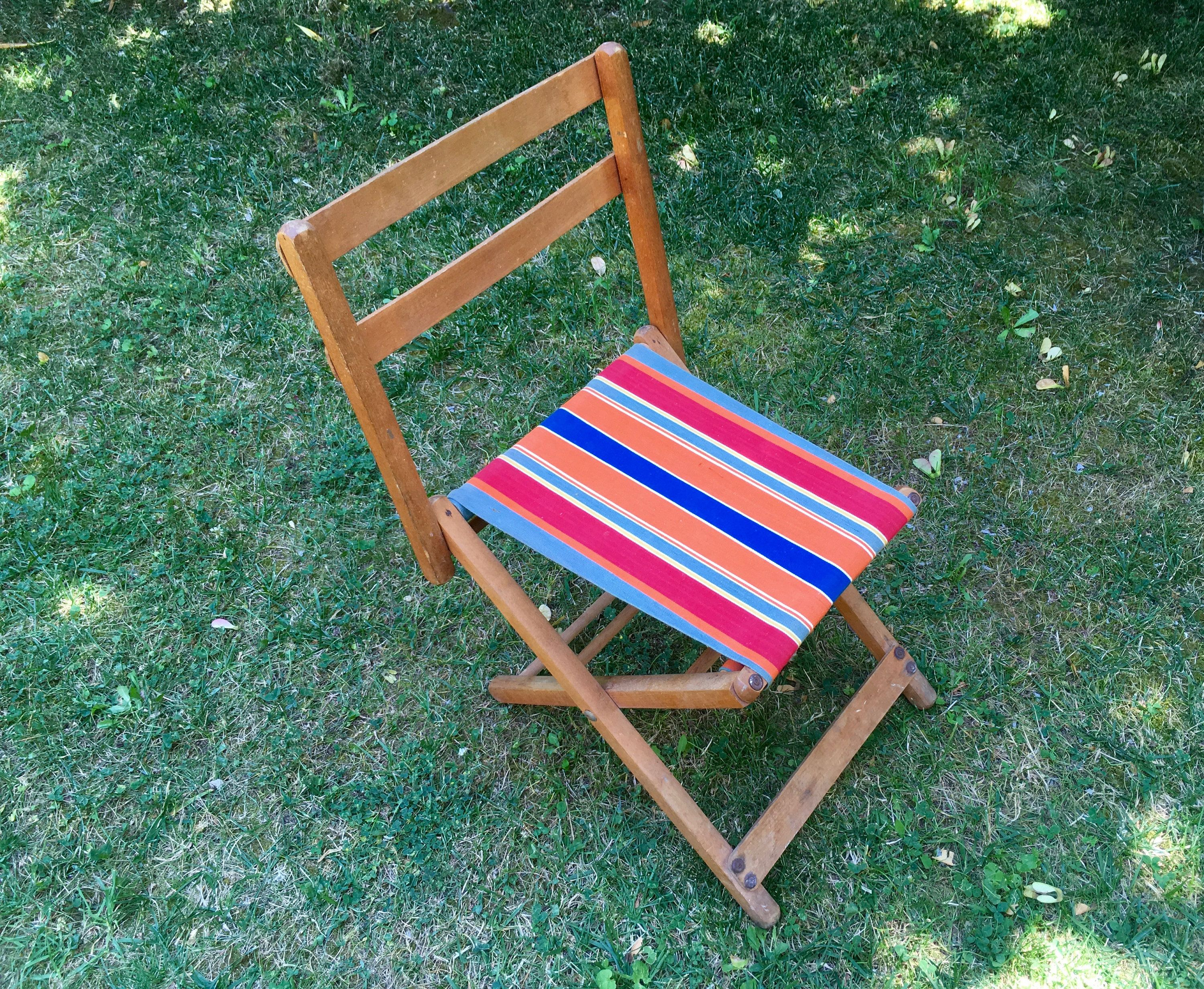 Chaise Camping Enfant Toile Et Bois French Vintage Wooden Camping Chair