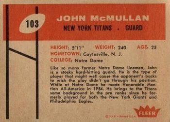 1960 Fleer #103 John McMullan Back