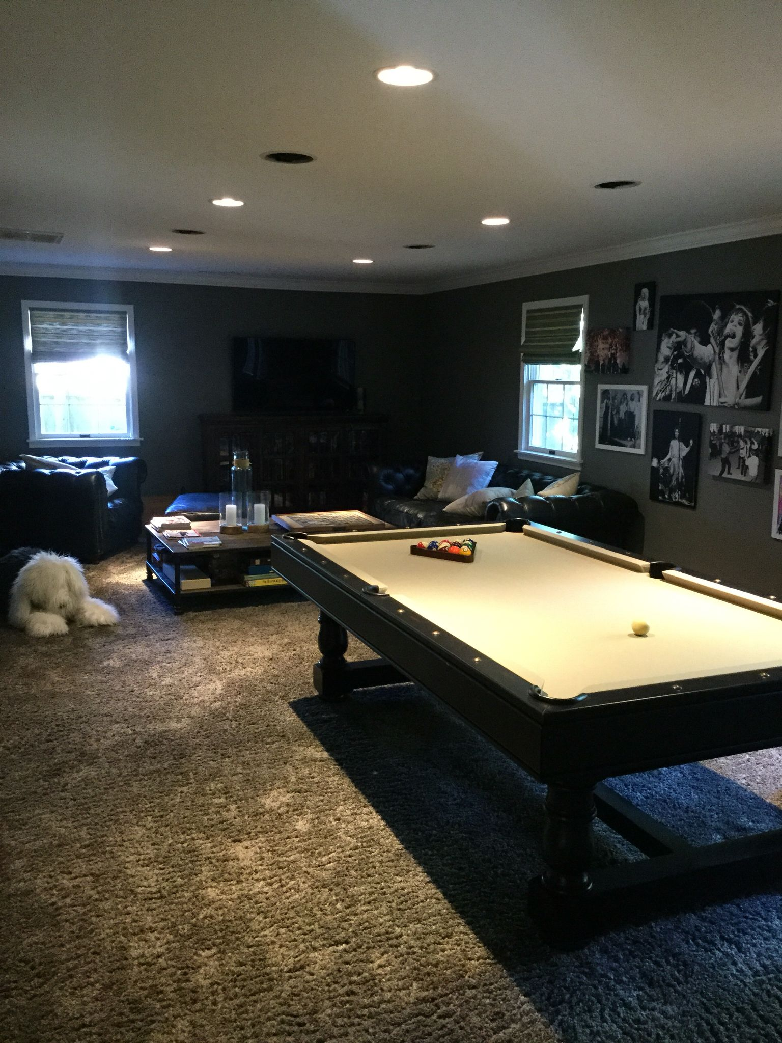 Game room We painted dark graphite on walls and added this retro