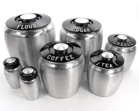 Vintage Aluminum Kromex Deco Canisters Set Flour Sugar Coffee Tea Grease Salt And Pepper