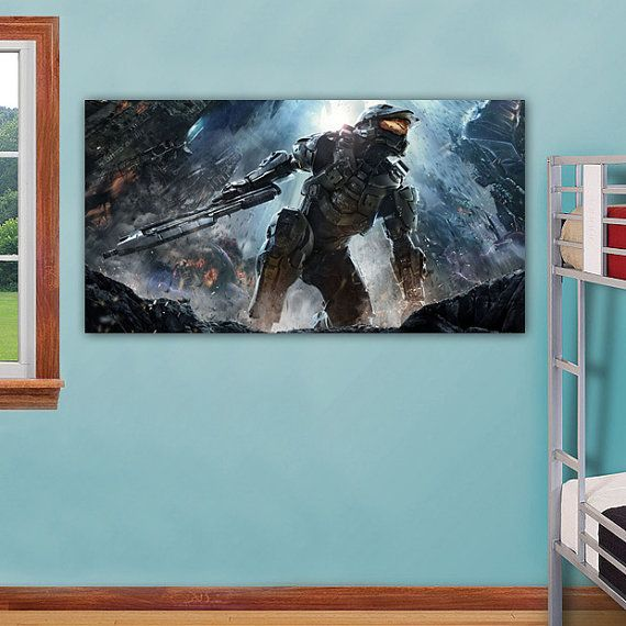 Halo 4 Print On Canvas Master Chief Home Wall Decor Art Canvas Prints Home Wall Decor Wall Art Decor