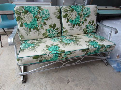 Vintage 50 S Patio Glider W Original Cushions Aluminum Patio Furniture Cushions Vintage Outdoor Furniture Vintage Patio