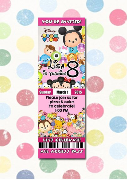 77498713909e487a6c3a46091117f5bd tsum birthday party invitation ticket style you print digital file,Tsum Tsum Invitation