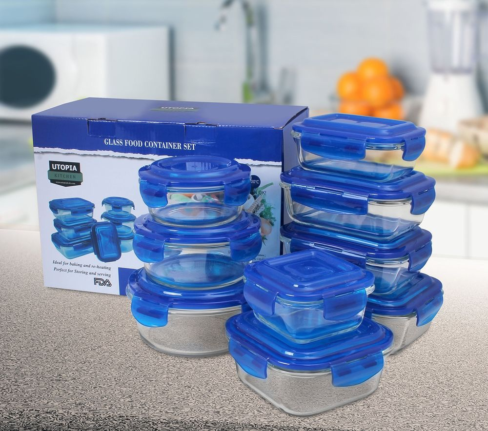 Glass Food Storage Container Set 18 Piece BPA Free Snap On Lids