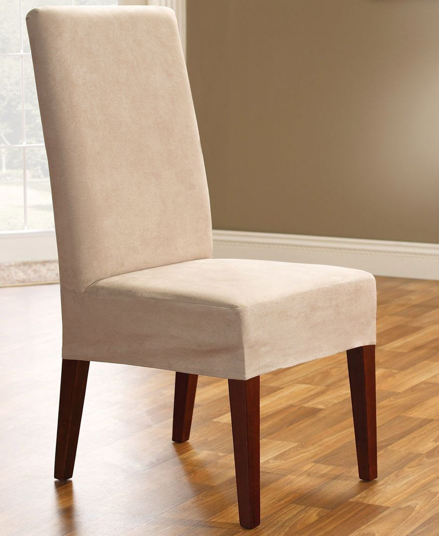 Dining Room Armchair Slipcovers: Sure Fit Soft Faux Suede Short Dining Room Chair Slipcover