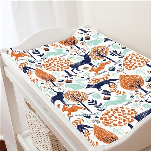Navy And Orange Woodland Animals Changing Pad Cover