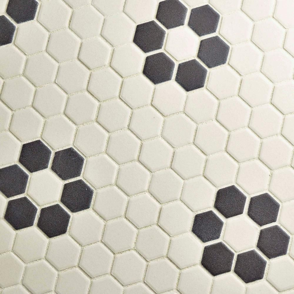 Merola Tile Metro Hex Matte White With Flower 10 1 4 In X 11 3 4