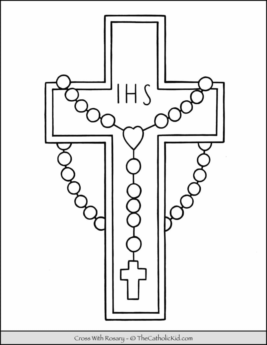 Cross With Rosary Coloring Page Thecatholickid Com Cross Coloring Page Catholic Coloring Coloring Pages