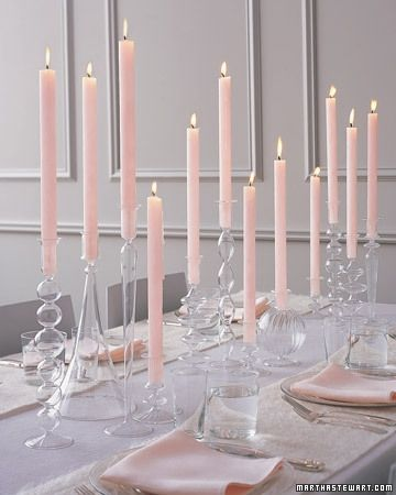 Tapers In Clear Glass Candle Holders Pink Candles Non Floral Centerpieces Candle Centerpieces