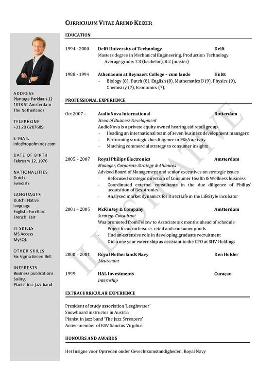 cv layout template australia