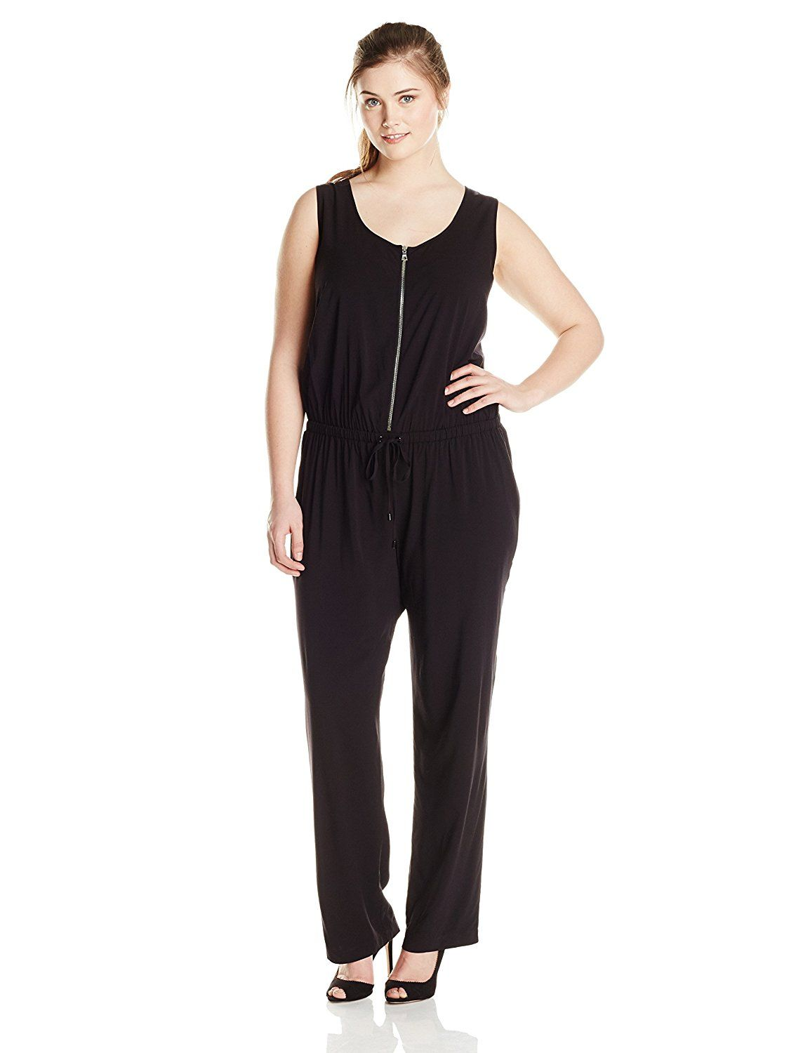 Karen Kane Womens Plus Size Zip Front Jumpsuit This Is An Amazon