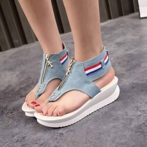 Denim High Heel Sandals Women Zipper Platform Sandals Summer Shoes Woman Slip On Shoes For Women