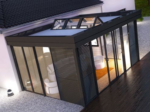 Extension veranda with skylight agrandissement pinterest maison extension maison et veranda - Agrandissement maison veranda ...