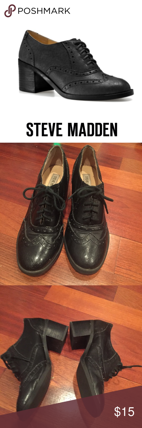 570867c4bae Steve Madden Black Leather Randi Oxford Steve Madden Black Leather Randi  Oxford. From Steve Madden