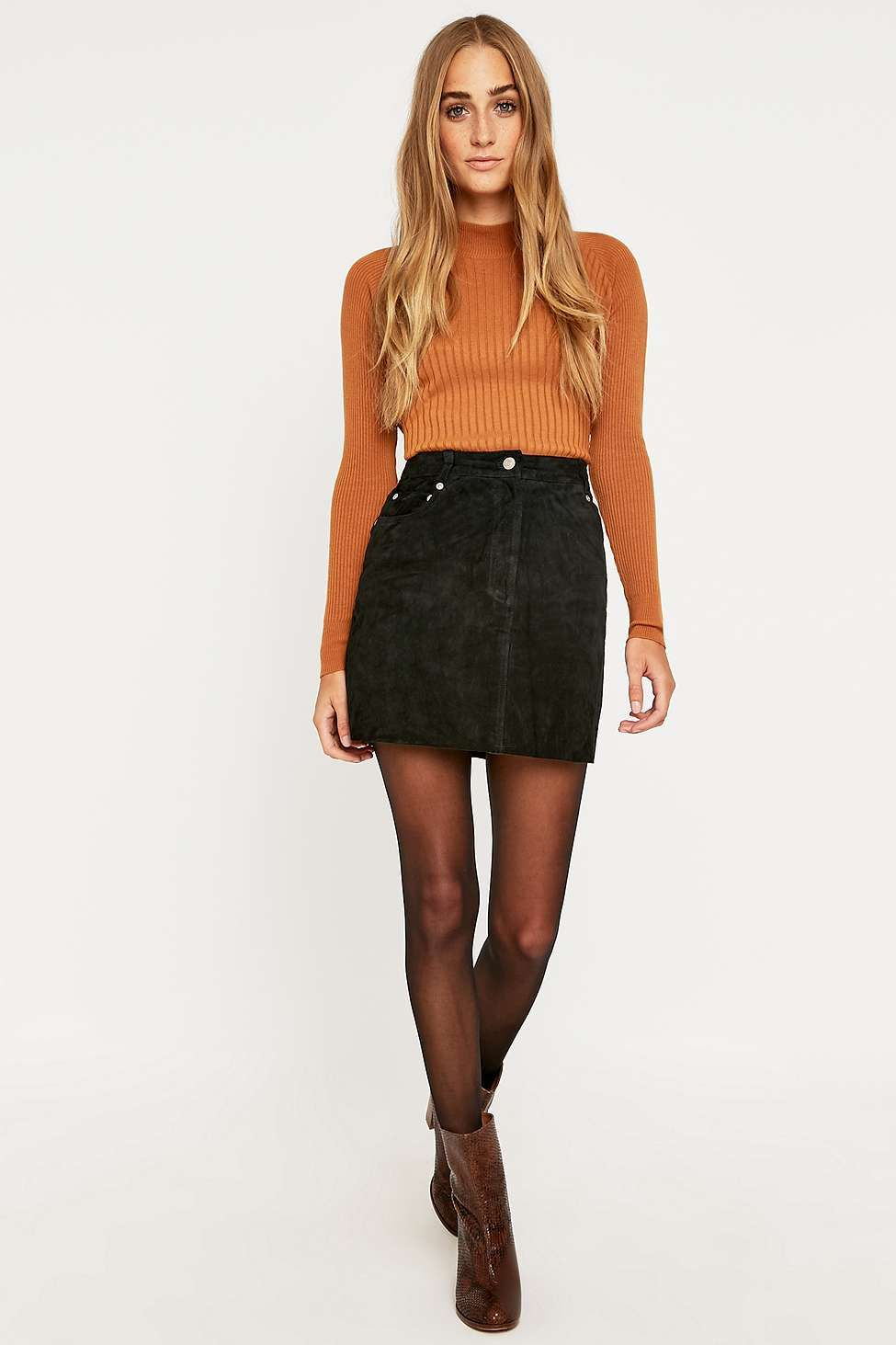 f1d694c9db Urban Renewal Vintage Originals Black Suede Skirt | love... | Suede ...