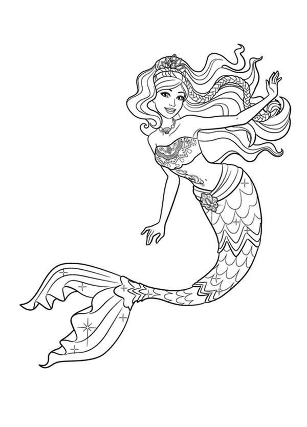 Free Printable Mermaid Barbie Tale Coloring Pages
