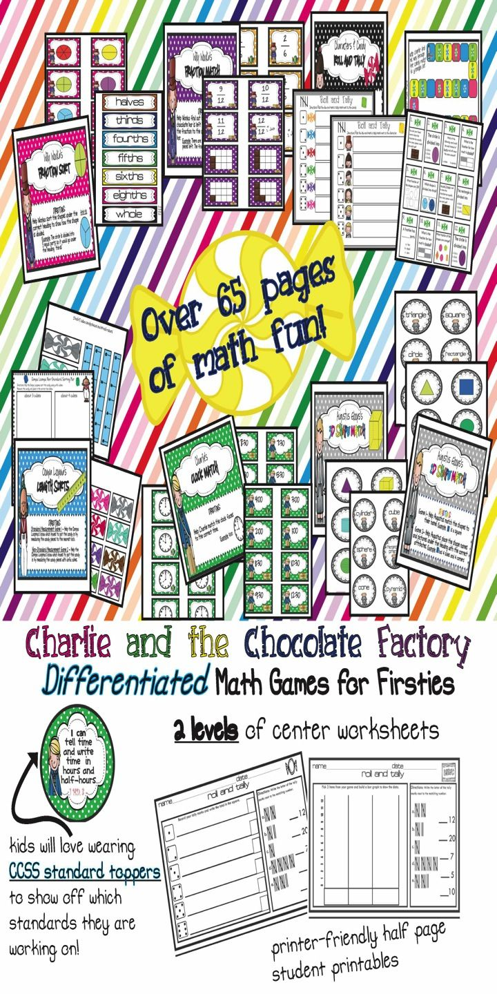 charlie and the chocolate factory ccss math games  printables  your first graders will love learning ccss math skills with these charlie  and the chocolate factory themed math games you will love the leveled  worksheets