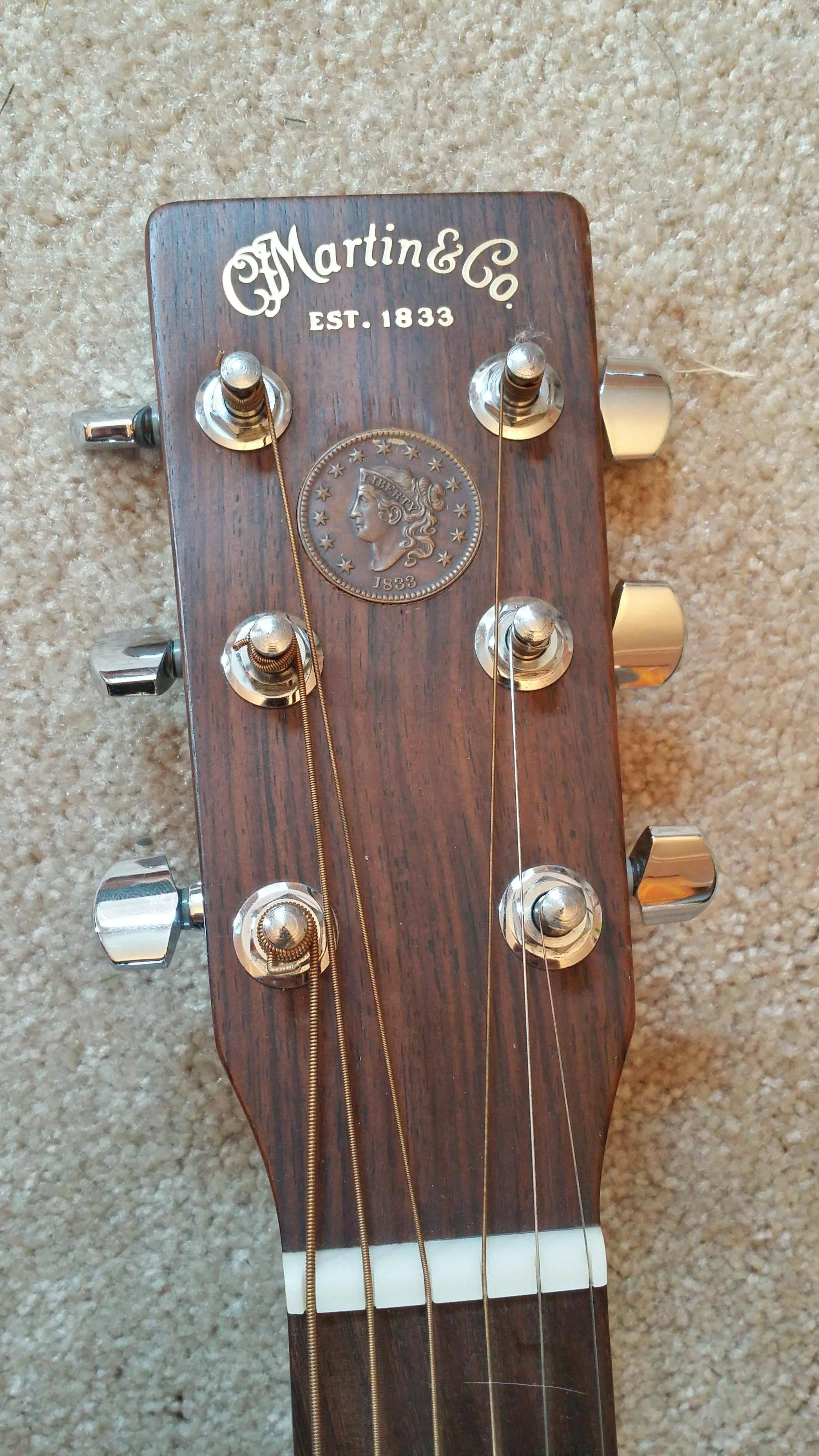 1833 Penny Inlaid In Martin Guitar Headstock Guitar Inlay Martin Guitar Acoustic Guitar