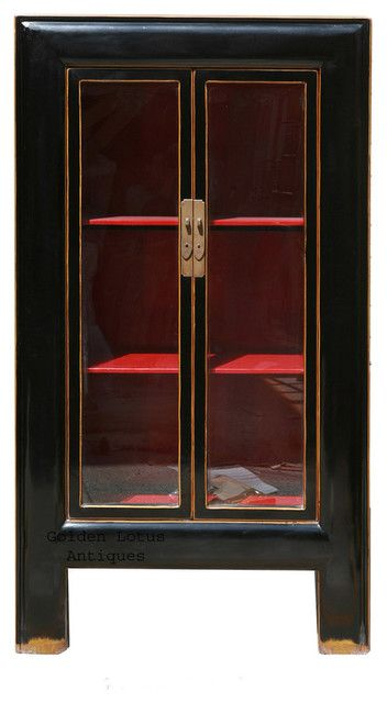 Black Piano Painted Tall Storage Glass Display Cabinet Asian